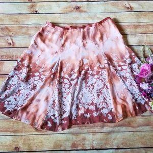 Worthington Rust/Orange Skirt, 14, Floral Print